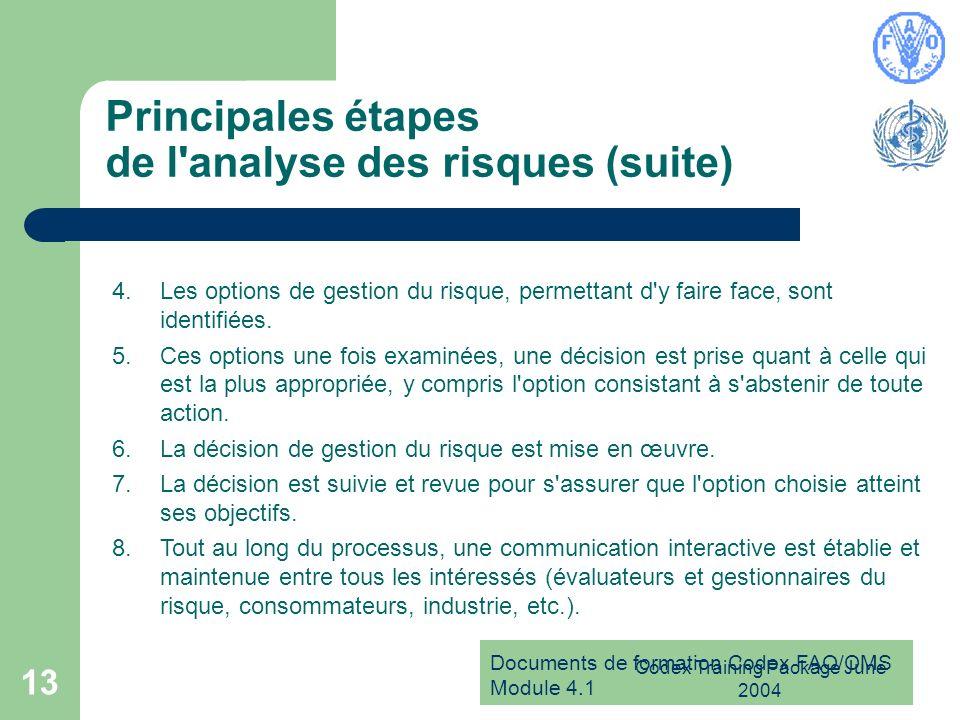 Principales étapes de l analyse des risques (suite)