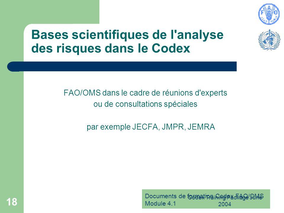 Bases scientifiques de l analyse des risques dans le Codex