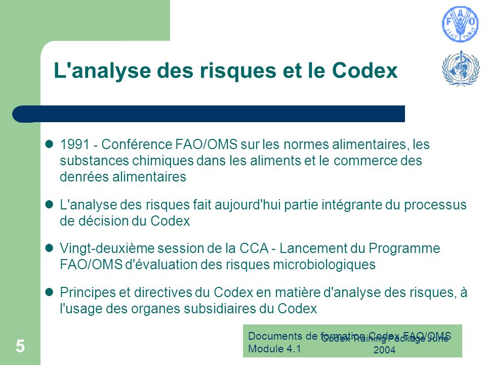 L analyse des risques et le Codex