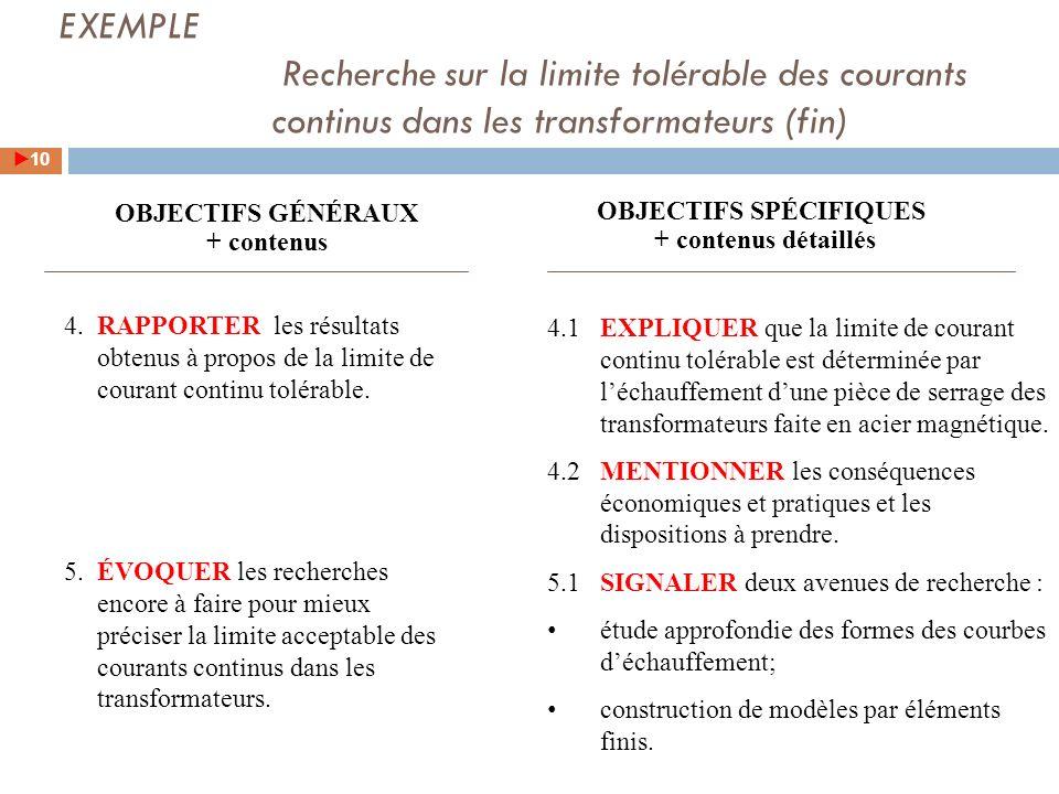 EXEMPLE Recherche sur la limite tolérable des courants continus dans les transformateurs (fin)