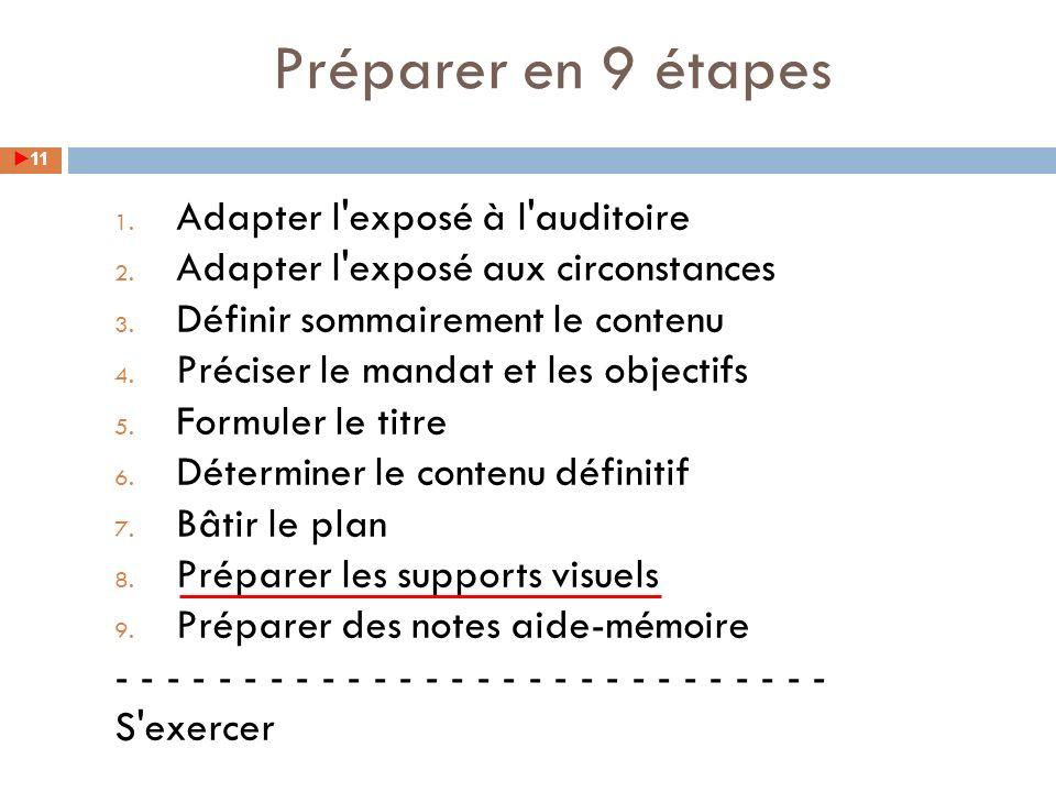 Préparer en 9 étapes Adapter l exposé à l auditoire