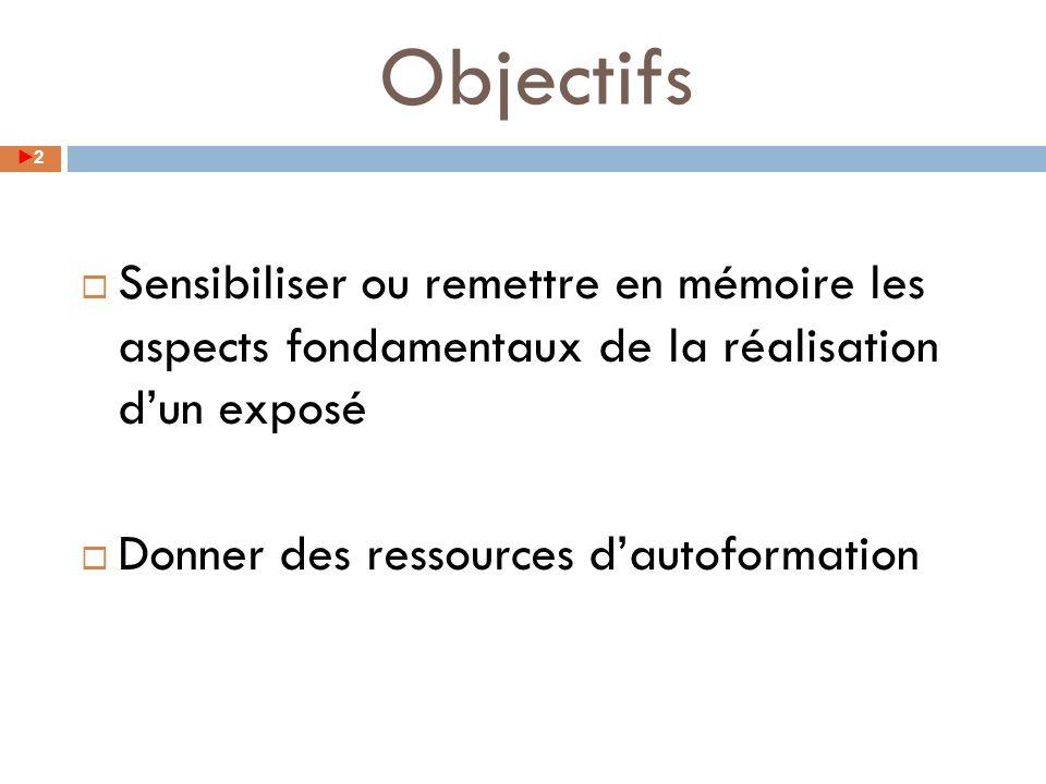 Objectifs Sensibiliser ou remettre en mémoire les aspects fondamentaux de la réalisation d'un exposé.