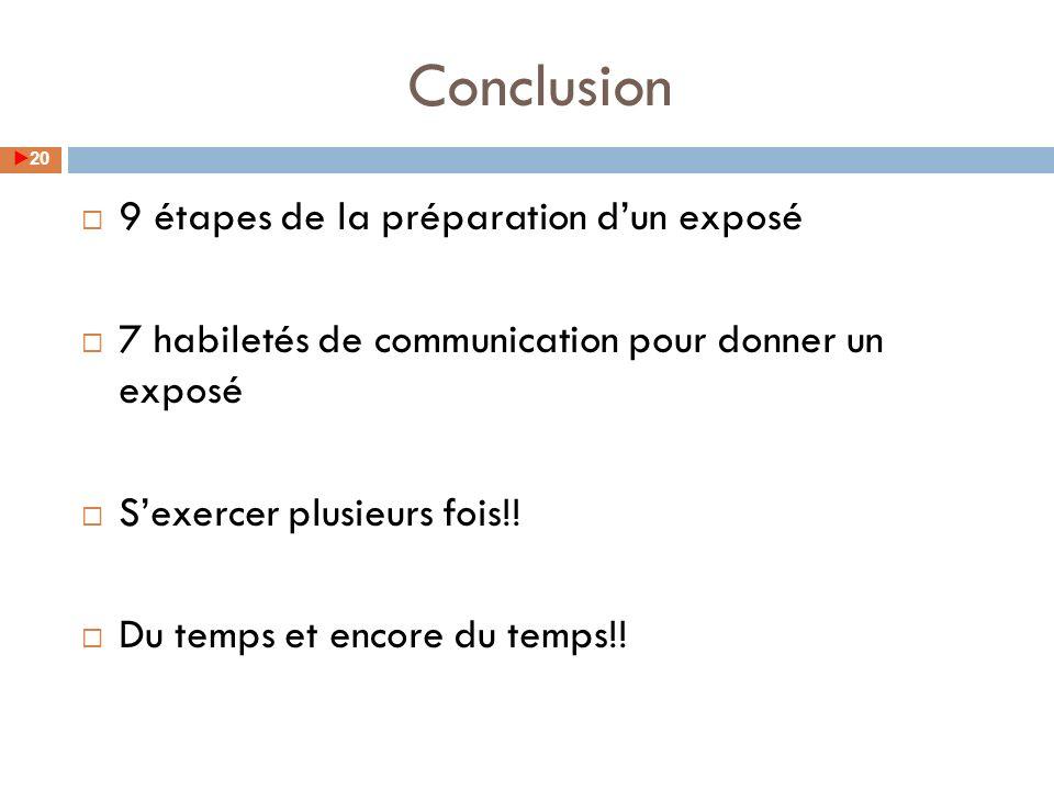 Conclusion 9 étapes de la préparation d'un exposé