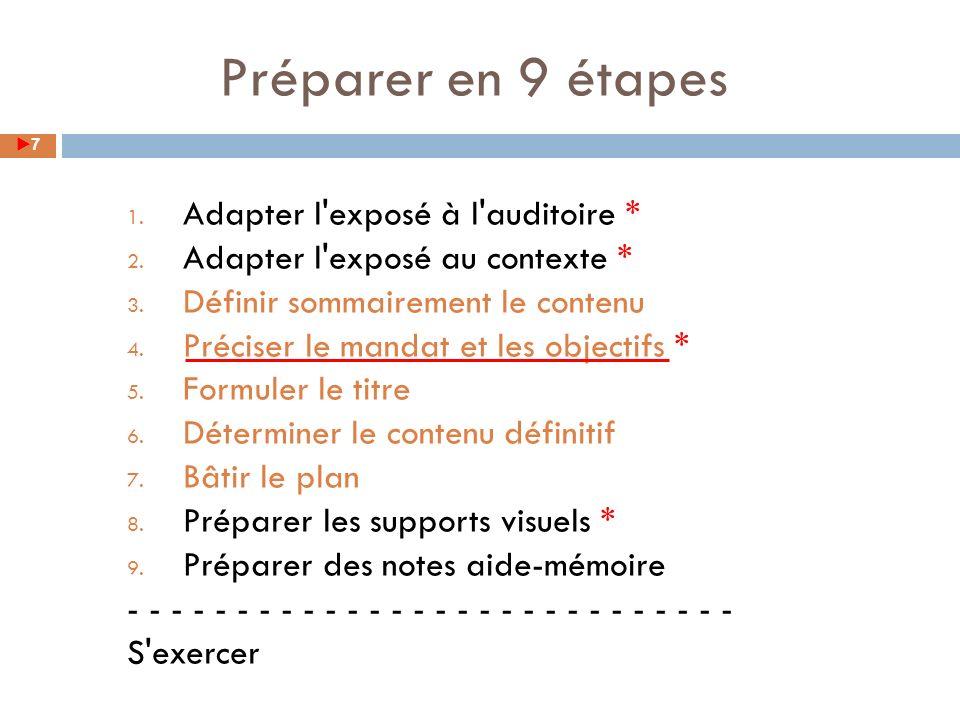 Préparer en 9 étapes Adapter l exposé à l auditoire *