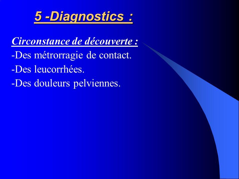 5 -Diagnostics : Circonstance de découverte :