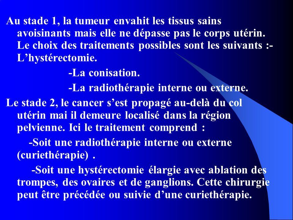 Au stade 1, la tumeur envahit les tissus sains avoisinants mais elle ne dépasse pas le corps utérin. Le choix des traitements possibles sont les suivants :-L'hystérectomie.