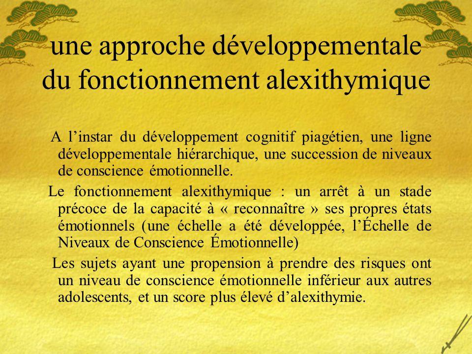 une approche développementale du fonctionnement alexithymique