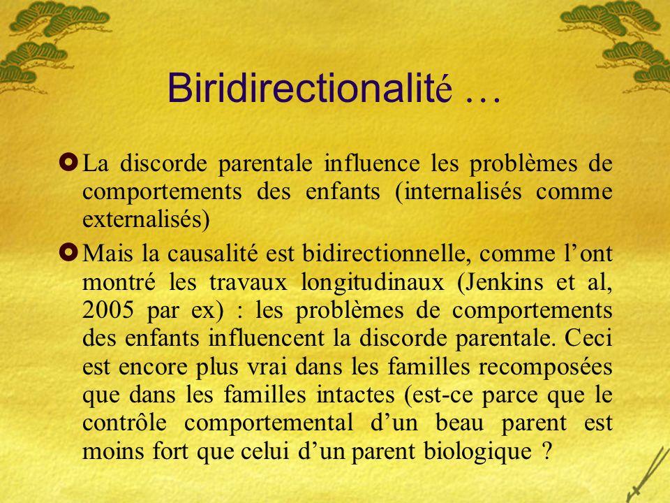 Biridirectionalité … La discorde parentale influence les problèmes de comportements des enfants (internalisés comme externalisés)