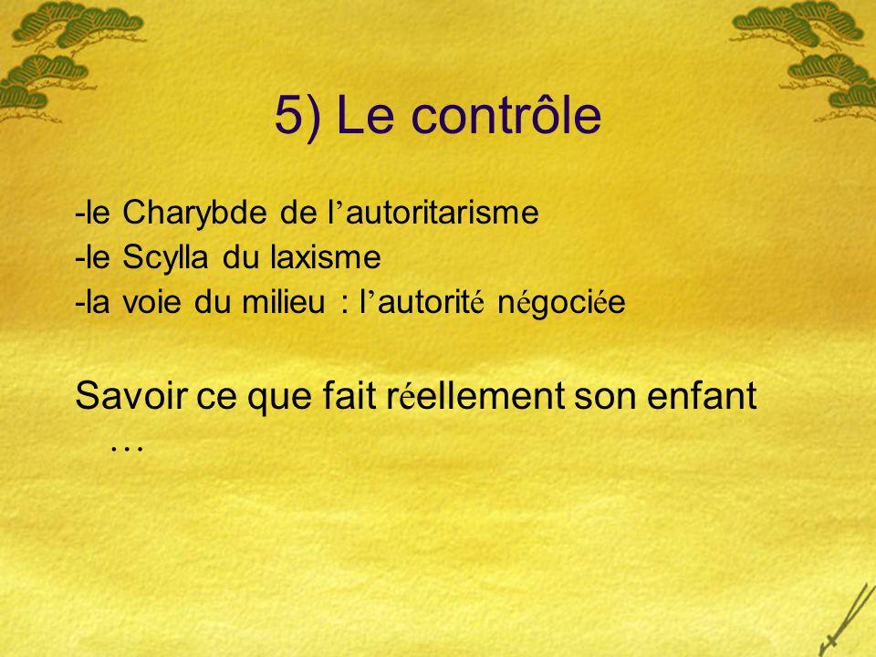 5) Le contrôle Savoir ce que fait réellement son enfant …