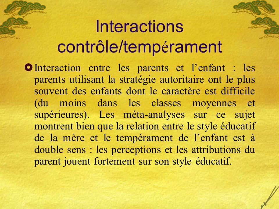 Interactions contrôle/tempérament