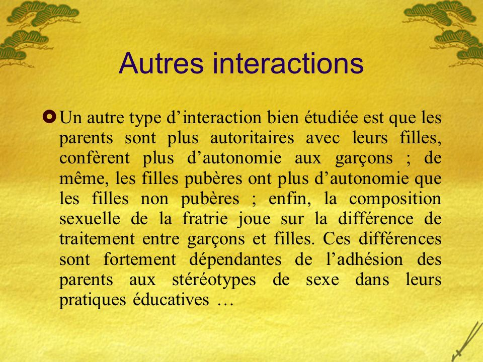 Autres interactions