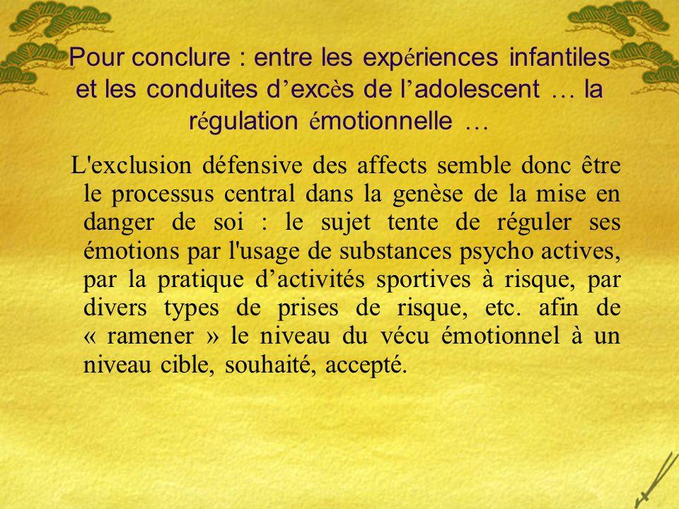 Pour conclure : entre les expériences infantiles et les conduites d'excès de l'adolescent … la régulation émotionnelle …
