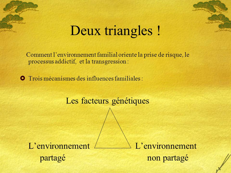 Deux triangles ! Les facteurs génétiques