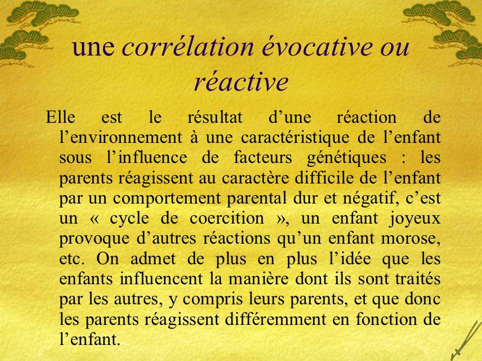 une corrélation évocative ou réactive