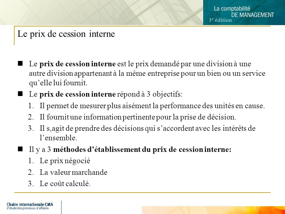Le prix de cession interne