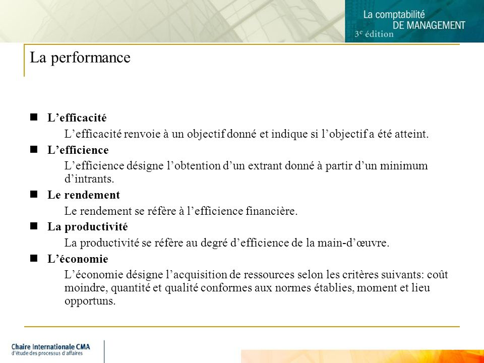 La performance L'efficacité