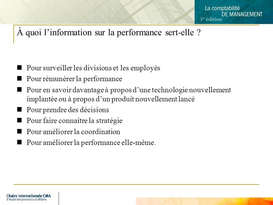 À quoi l'information sur la performance sert-elle