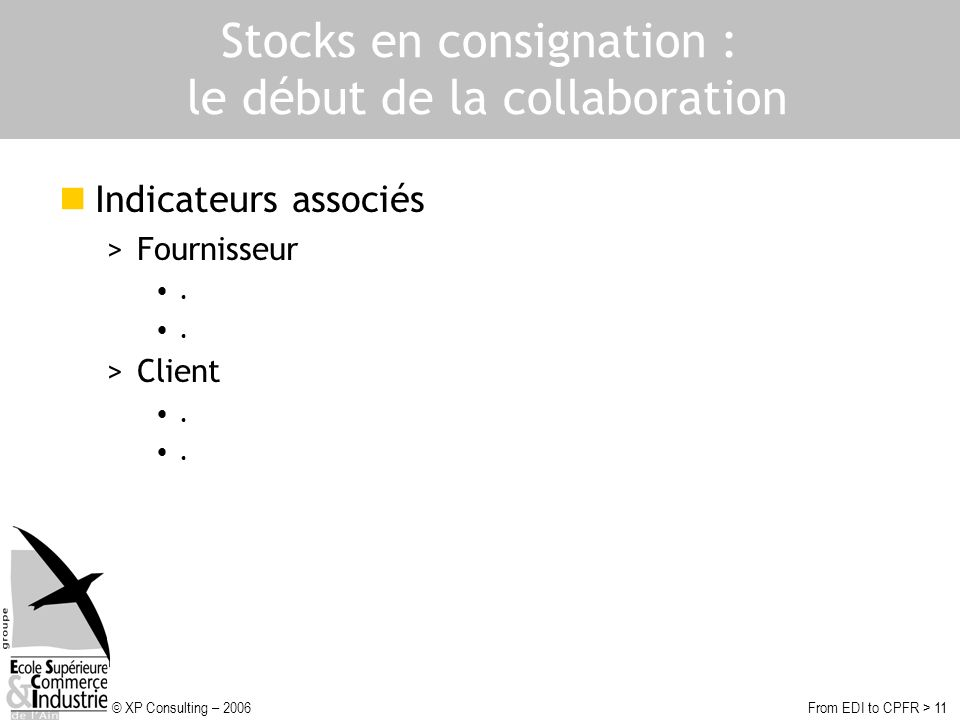 Stocks en consignation : le début de la collaboration