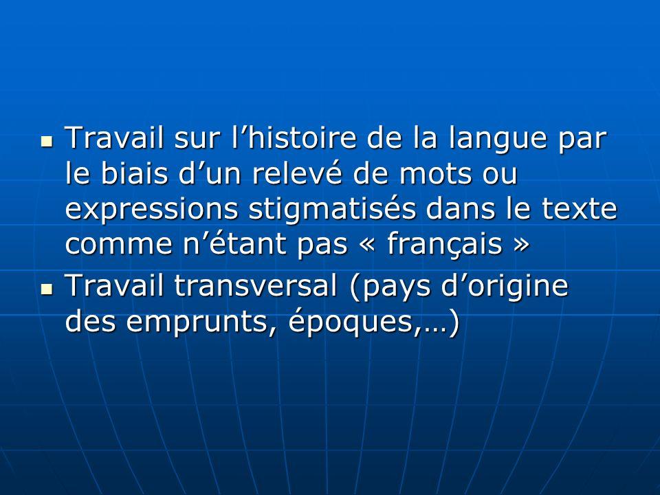 Travail sur l'histoire de la langue par le biais d'un relevé de mots ou expressions stigmatisés dans le texte comme n'étant pas « français »