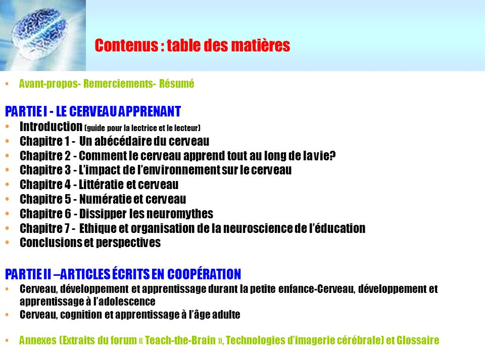 Contenus : table des matières