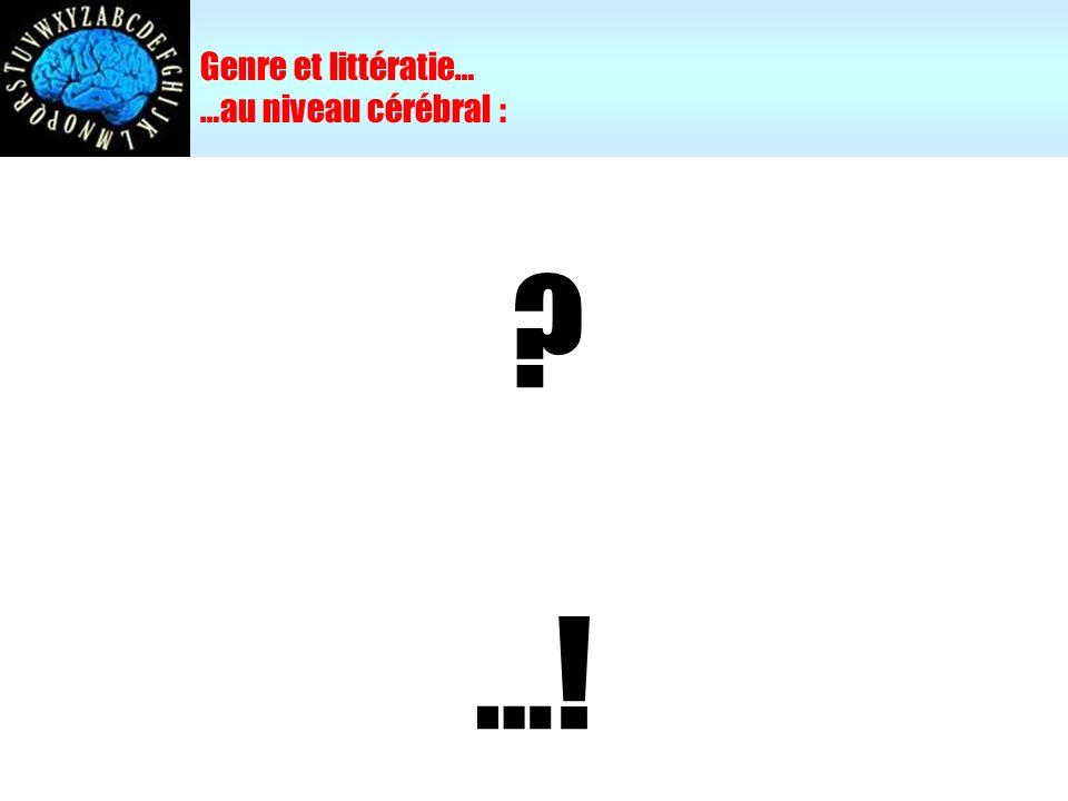 Genre et littératie… …au niveau cérébral : …!