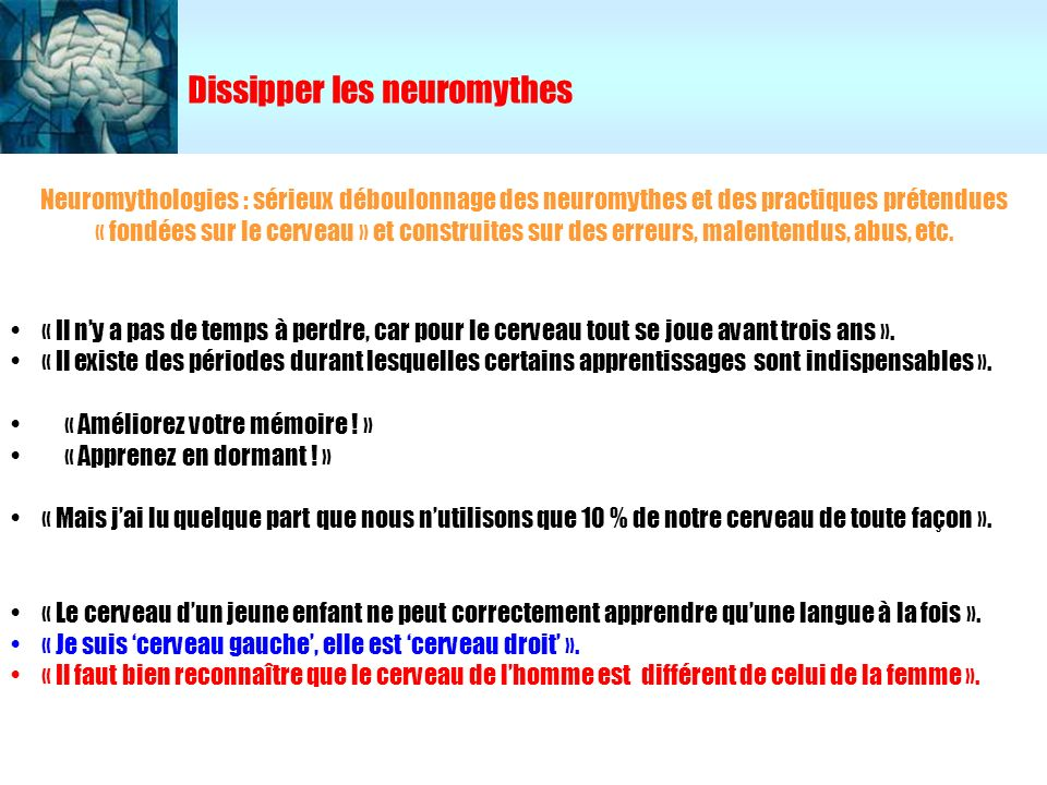 Dissipper les neuromythes