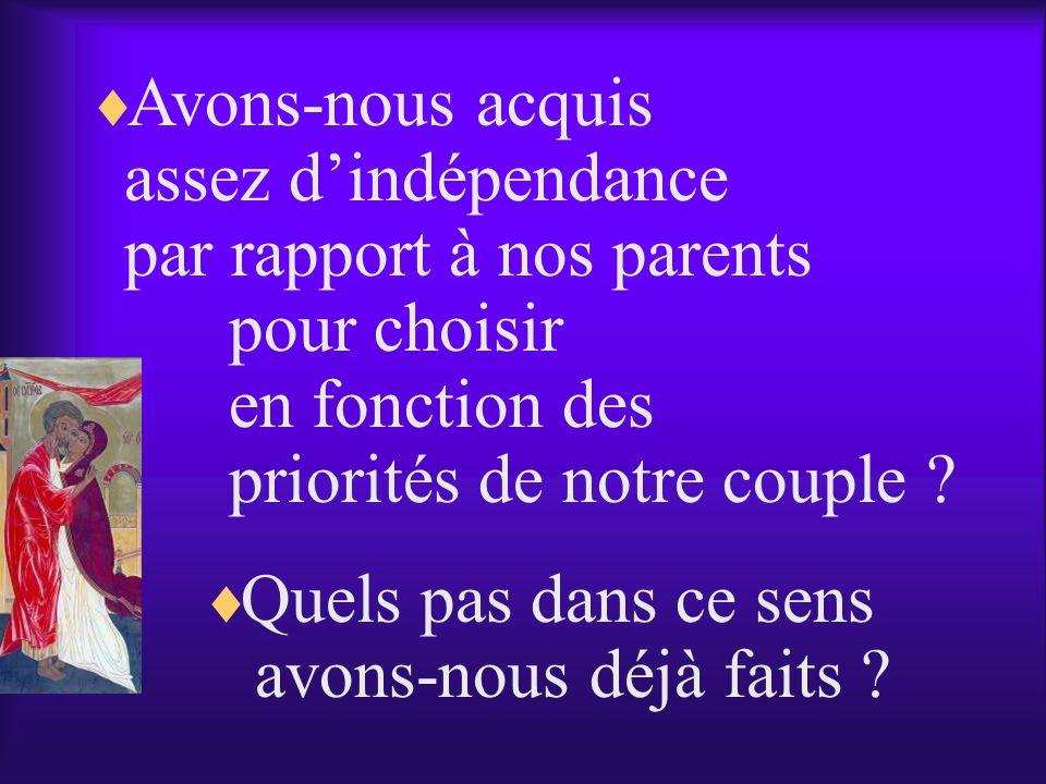 Avons-nous acquis assez d'indépendance. par rapport à nos parents. pour choisir. en fonction des.