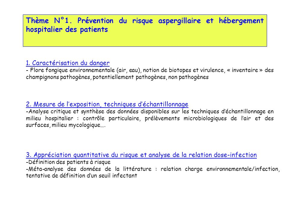 Thème N°1. Prévention du risque aspergillaire et hébergement hospitalier des patients