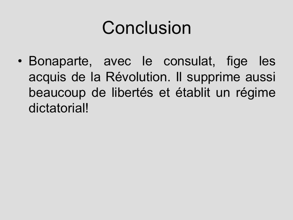 Conclusion Bonaparte, avec le consulat, fige les acquis de la Révolution.