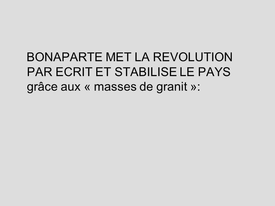 BONAPARTE MET LA REVOLUTION PAR ECRIT ET STABILISE LE PAYS grâce aux « masses de granit »: