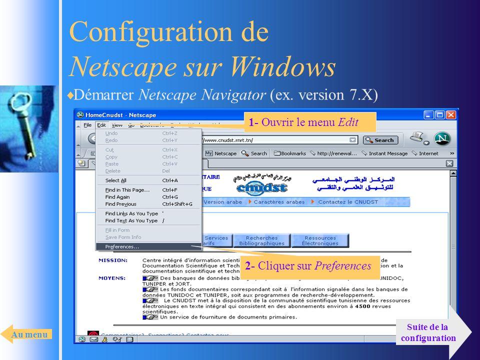 Configuration de Netscape sur Windows