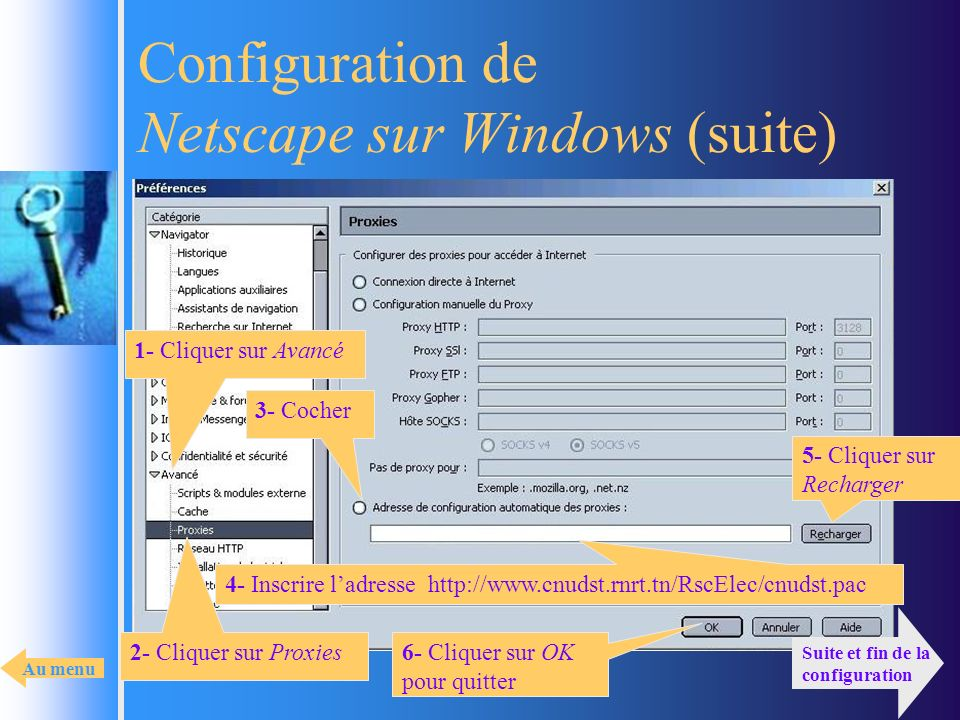 Configuration de Netscape sur Windows (suite)