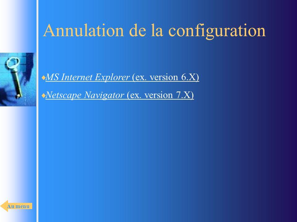 Annulation de la configuration