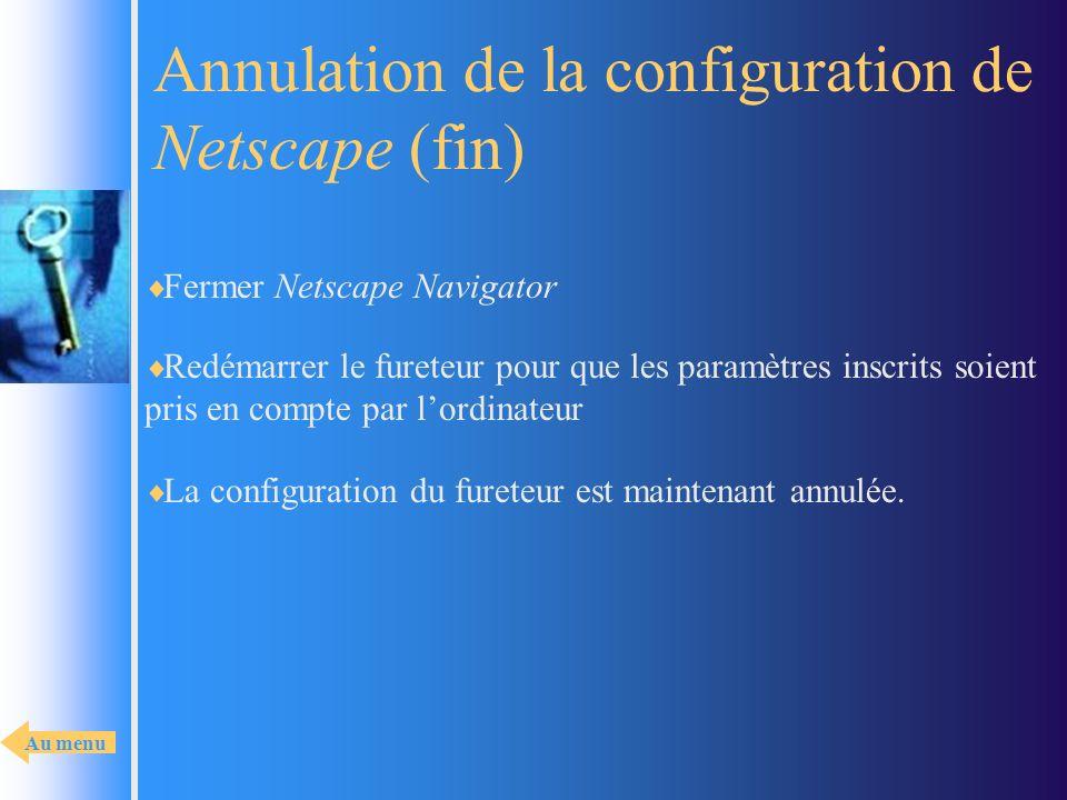 Annulation de la configuration de Netscape (fin)