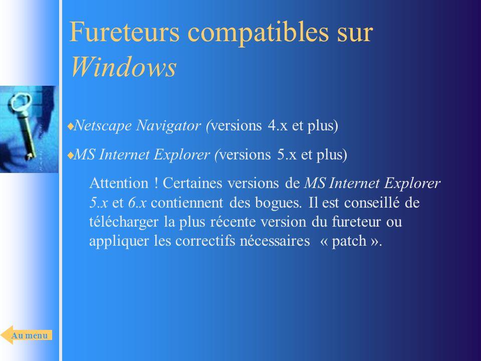 Fureteurs compatibles sur Windows