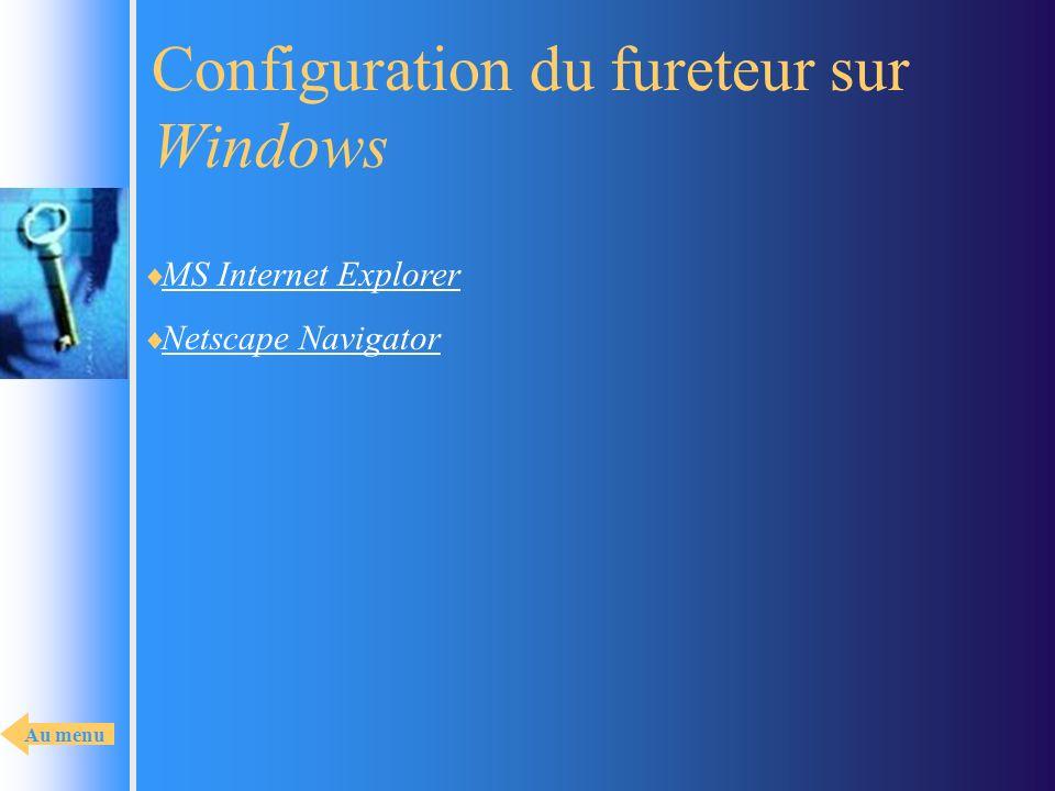 Configuration du fureteur sur Windows