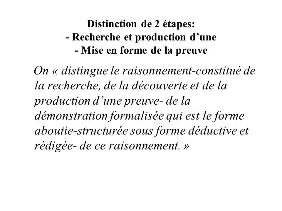 Distinction de 2 étapes: - Recherche et production d'une - Mise en forme de la preuve