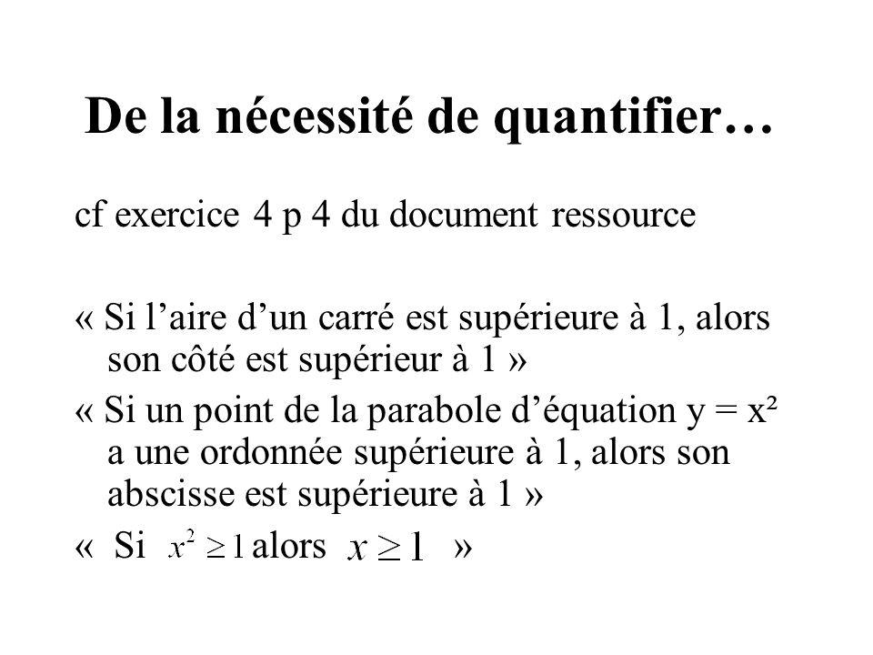 De la nécessité de quantifier…