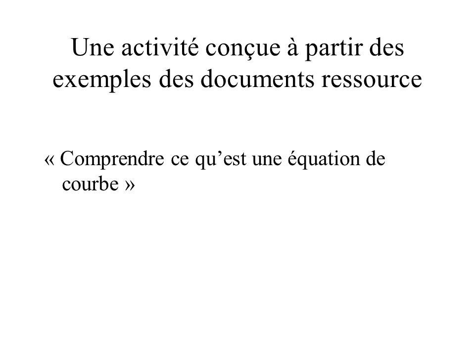 Une activité conçue à partir des exemples des documents ressource
