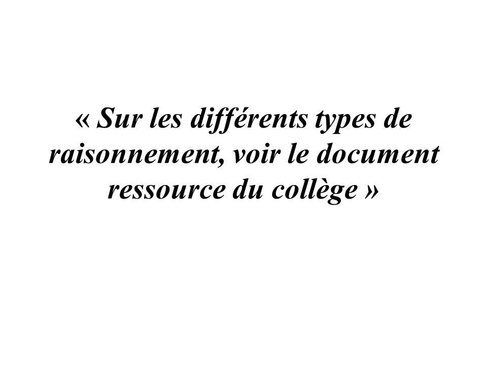 « Sur les différents types de raisonnement, voir le document ressource du collège »