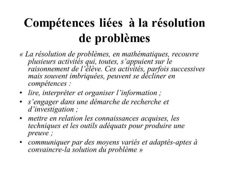 Compétences liées à la résolution de problèmes