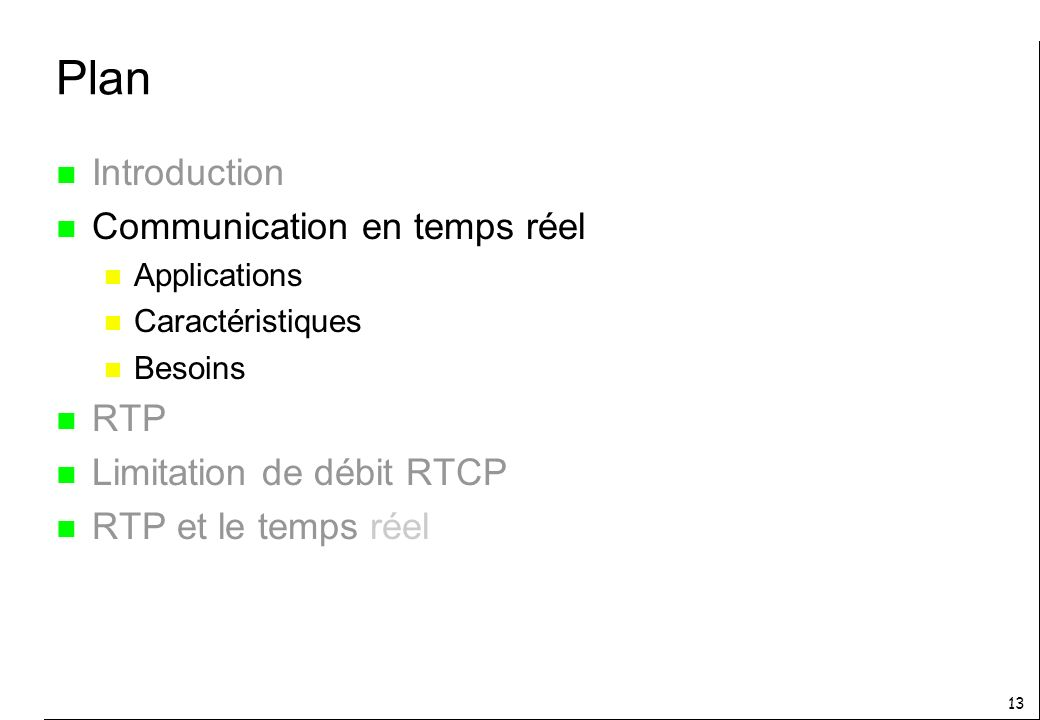 Plan Introduction Communication en temps réel RTP