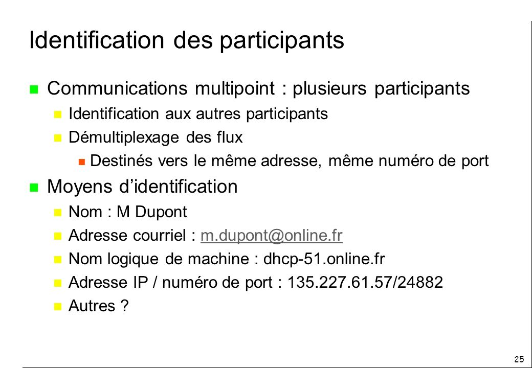 Identification des participants