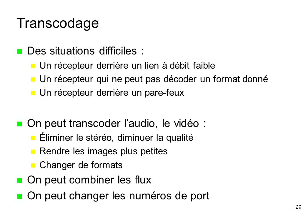 Transcodage Des situations difficiles :
