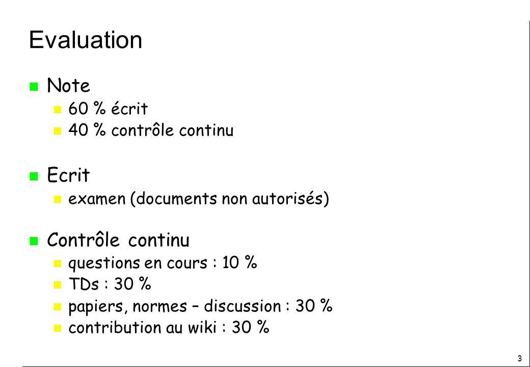 Evaluation Note Ecrit Contrôle continu 60 % écrit