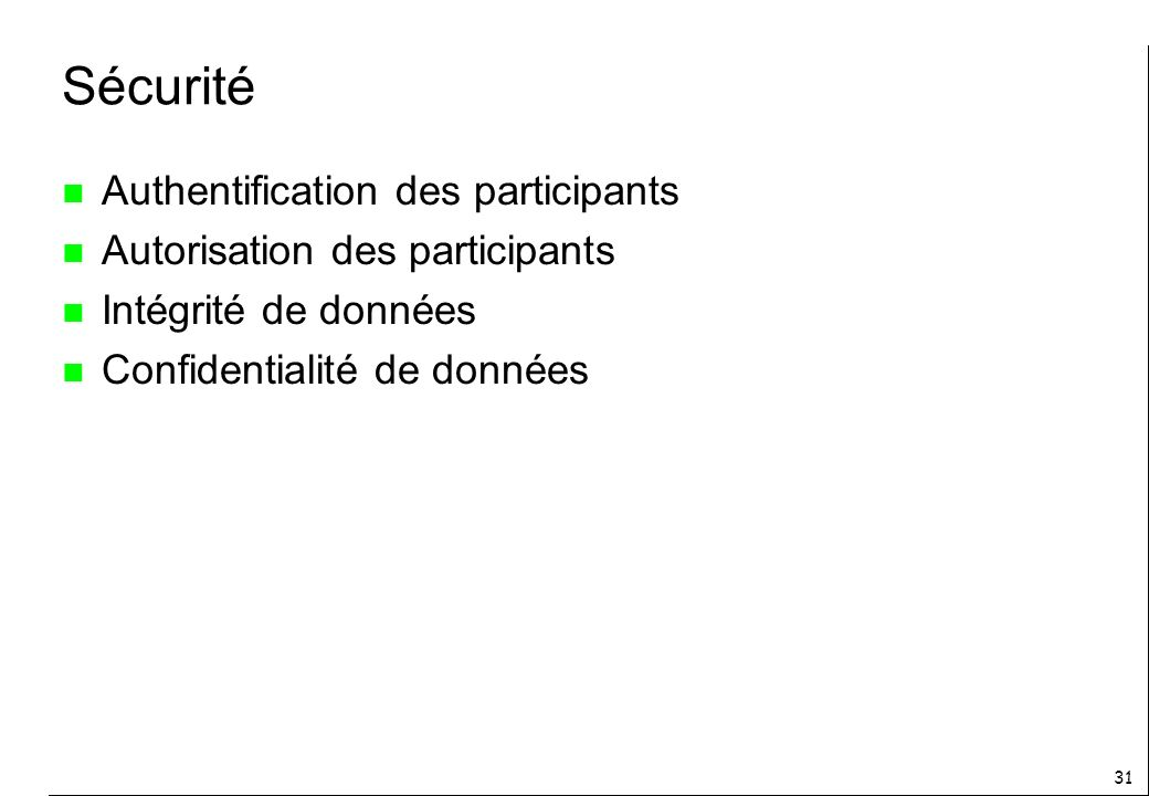 Sécurité Authentification des participants