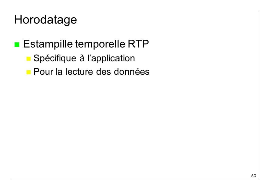 Horodatage Estampille temporelle RTP Spécifique à l'application