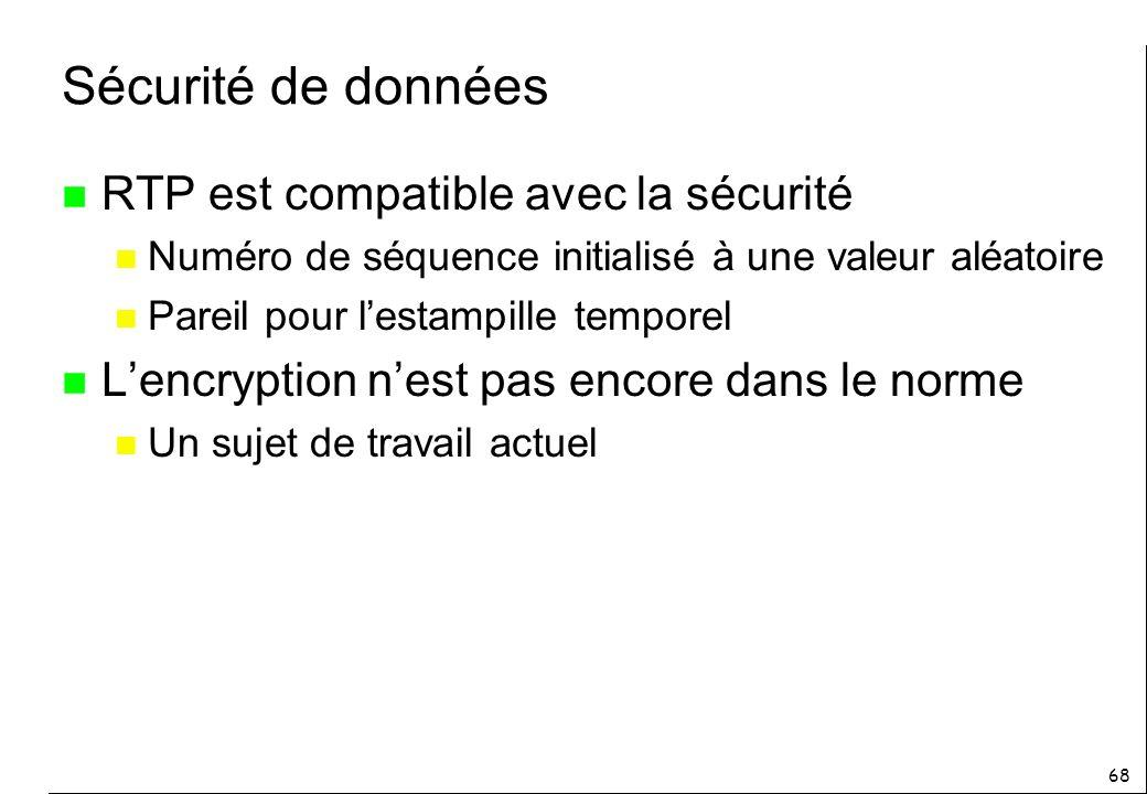 Sécurité de données RTP est compatible avec la sécurité