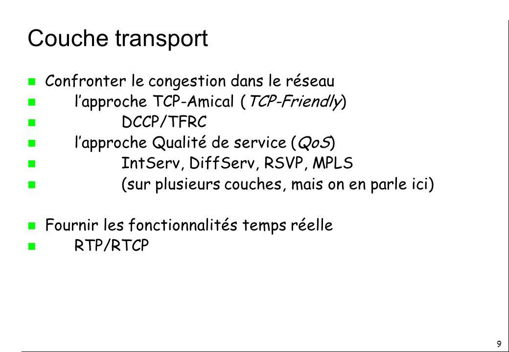 Couche transport Confronter le congestion dans le réseau