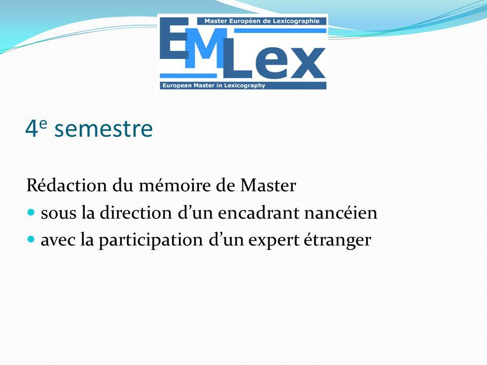 4e semestre Rédaction du mémoire de Master